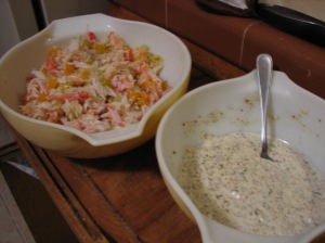 For my extra-large recipe, I used two bowls; I mixed the crab and veggies in one and then poured the mayonnaise mixture from the other