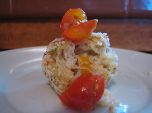 Colorful and flavorful; crab cake with pickled tomatoes