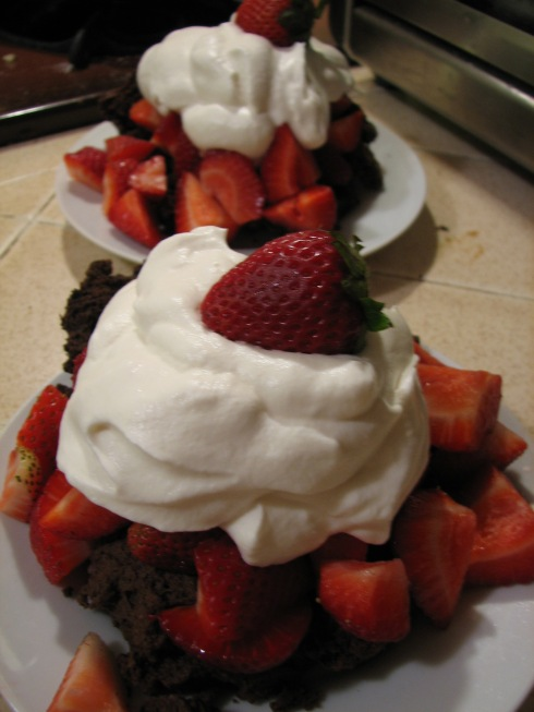 Dark Chocolate Shortcakes Topped with Strawberries and Cream