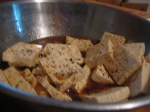 Marinate the tofu well; we used 2 pieces of tofu, so we needed to move it around a lot