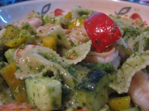 Pesto Pasta Salad with Shrimp