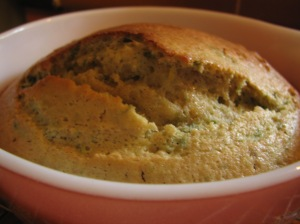 The little cake with the basil in it - yes, it's a little brown on the top... oops...