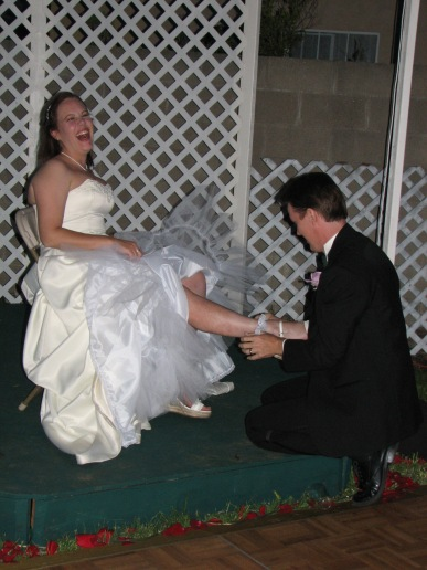 The garter - and that million-watt smile!